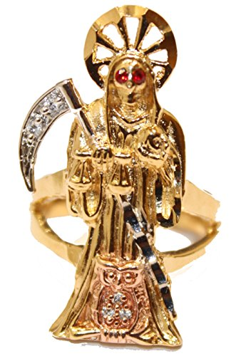 Santa Muerte Grim Reaper 18k Gold Plated Ring Size 9 – Holy Death 18k Gold Plated Ring