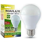 MAILUX E27 10 Watt LED Birne Glühbirne Bulb warmweiß 2700K Ra 80+ mit 800 Lumen (~ 60-75 Watt Glühlampe) neu OVP