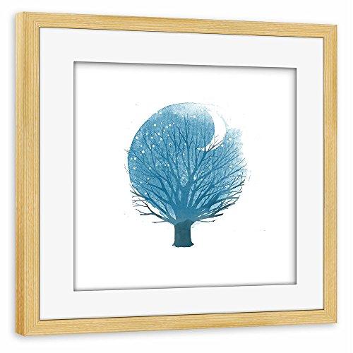 poster-avec-cadre-50x50-cm-illustration-nature-arbre-au-clair-de-lune-affiche-avec-le-cadre-pin-semi