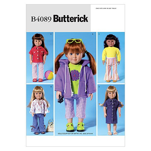 "Butterick Patterns B4089 18"" Doll Clothes, One Size Only"