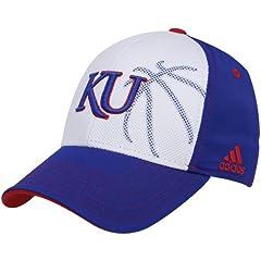 Buy NCAA adidas Kansas Jayhawks White-Royal Blue Basketball Mesh Flex Hat by adidas