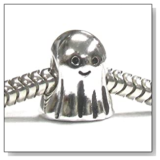 Sterling Silver Cute Lovely Spirit Ghost Halloween Bead For European Charm Bracelets 10mm