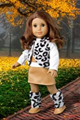 Snow Leopard - Faux fur vest and boots matched with a mini leather skirt and ivory blouse - 18 Inch American Girl Doll Clothes