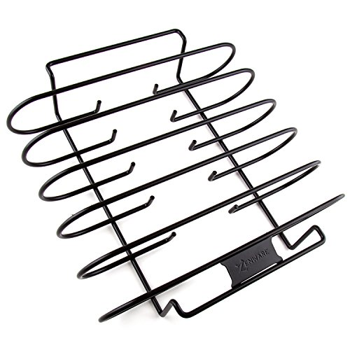 Lowest Prices! Zenware Non-Stick BBQ Rib Rack for Charcoal Grills and Smokers