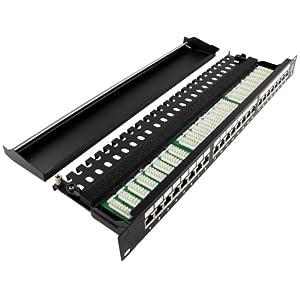 Patchpanel Cat6a 500MHz 10-Gigabit 24 fach - Patchfeld mit 24 Anschlüssen vollgeschirmt 1HE schwarz RAL 9005 - für Netzwerk Verlegekabel
