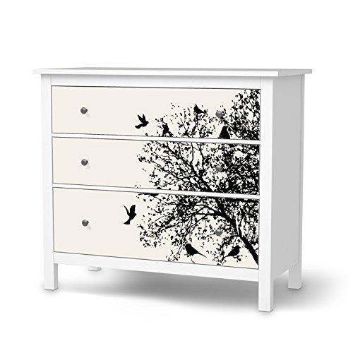 Deko-Folie-fr-IKEA-Hemnes-Kommode-3-Schubladen-Mbelfolie-Klebesticker-Tapete-Folie-Mbel-folieren-kreative-Wohnideen-Wohnzimmer-Dekoration-Innendeko-Design-Motiv-Tree-and-Birds-2