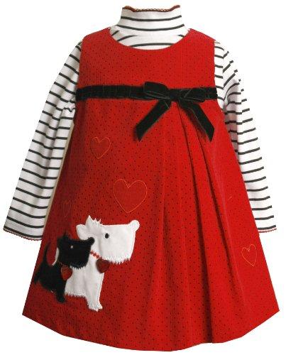 Bonnie Baby Baby-girls Infant Scotty Applique Jumper Set, Red, 18 Months