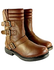 Ladies Bronx Mid Ruched Calf Low Heel Side Zip And Buckle Tan Boots 5-10 by Bronx