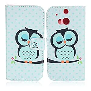 Sleepy Kitten Pattern Side Opening Printing PU Protective Case for HTC ONE M8