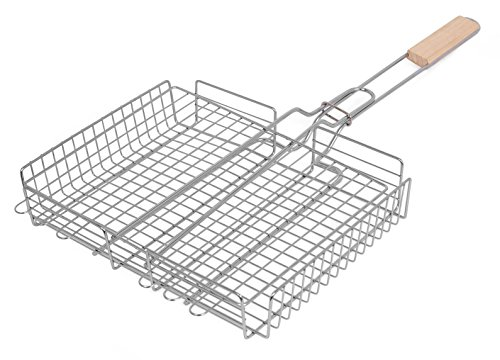 Internet's Best Stainless Steel Rectangular Grilling Basket | Long Wooden Handle | Vegetables Small Foods | 25 Inch (Grill Cage compare prices)