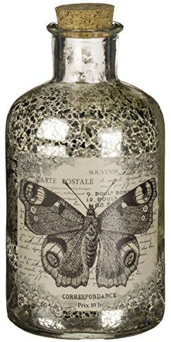 6'' Metallic Mercury Glass Butterfly Bottle with Cork