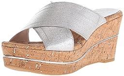 Donald J Pliner Women\'s Dani-ME Wedge Sandal, Silver, 7 M US