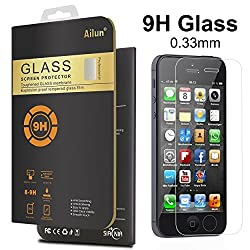 iPhone 5S Screen Protector,For iPhone 5S/5/5c,by Ailun,Premium Tempered Glass,9H Hardness,2.5D Curved Edge,Anti-Scratch,Bubble Free,Anti-Fingerprints&Oil Stains Coating-Siania Store Retail Package