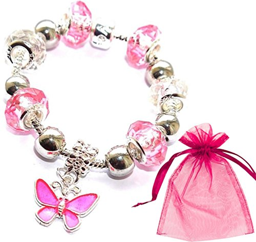Fuchsia Pink Silver Butterfly Crystal Glass Pandora
