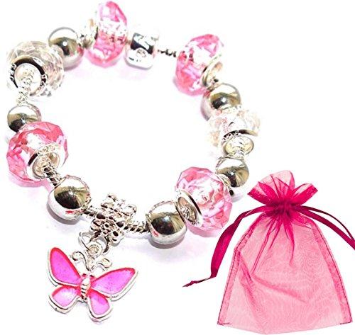 Fuchsia Pink Silver Butterfly Crystal Glass Pandora