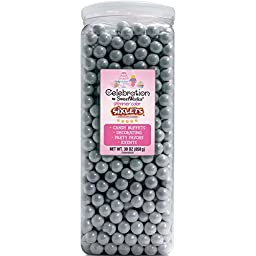 Sweetworks Celebrations Candy Sixlets Jar, 30 oz, Shimmer Silver by Sweetworks