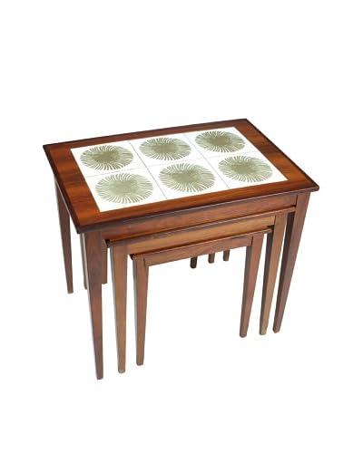 Set of 3 Mid-Century Modern Nesting Tables, Brown/Cream/Green
