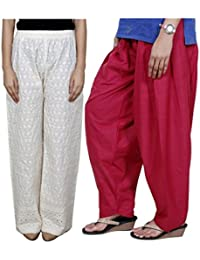 IndiWeaves Women Full Cotton Chikan Cream Palazzo With Cotton Maroon Seme- Patiala Salwar - Free Size (Pack Of 1 Palazzo With 1 Patiala Salwar)