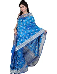 Exotic India Federal-Blue Jamdani Sari With All-Over Woven Flower - Federal Blue