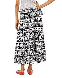 FEMEZONE Women's Traditional And Jaipuri Print Cotton Wrap-around Skirt