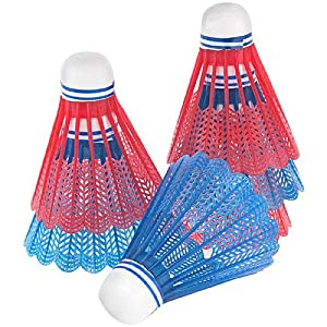 Wilson Plastic Badminton Shuttlecocks Pack of 6 (Red/Blue)