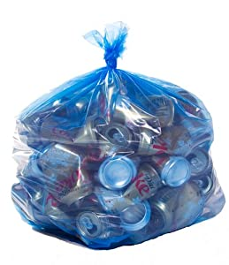 Blue Recycling Bags,40 Gallon,23x10x46,1.2 Mil,100/Case