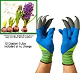 Bulb Digger Garden Gloves -Nylon ABS Claws - Medium Size - Stretches to fit Women's or Men's Hands - No more sore or broken finger nails! Pair of Gloves in this package with claws on left & right gloves- Three (3) permanent claws per glove.