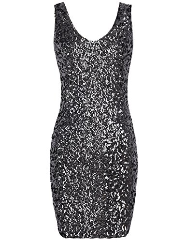 PrettyGuide Women Sexy Deep V Neck Sequin Glitter Bodycon Stretchy Mini Party Dress Black L