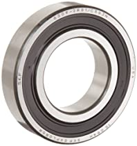 SKF 629 2RSJEM Deep Groove Ball Bearing, Double Sealed, No Snap Ring, Steel, Metric, 9mm ID, 26mm OD, 8mm Width, 18,000 rpm Max Speed (Sealed), 1,040 lbf Dynamic Load Rating, 441 lbf Static Load Rating