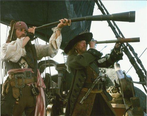 Johnny Depp & Geoffrey Rush Pirates Of The Caribbean 8X10 Movie Photo Looking Through Telescope