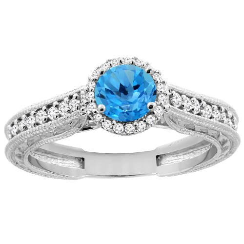 14K White Gold Natural Swiss Blue Topaz Round 5Mm Engraved Engagement Ring Diamond Accents, Size 6