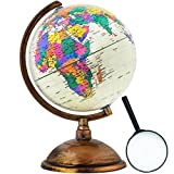 World Globe - Antique Decorative in Style - 12 inch in Total Size with a Magnifying Glass - Kids Educational Learning Toy Engaging Children - Old World Style with a Desktop Stand - Detailed World Map (Color: Antique Mental Style, Tamaño: Medium)