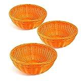 Colorbasket 31111-206 Hand Woven Waterproof Bowl Basket, Bright Orange, Set of 3