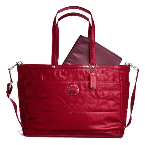 New With Tags COACH RED Signature Stitched Patent Leather Multifunction Tote Diaper Laptop Bag 17940 Red
