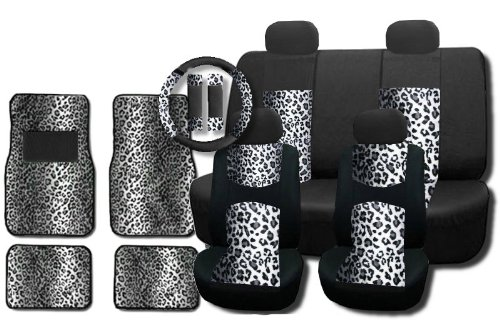 New and Exclusive Mesh Animal Print Accent Interior Set Gray Snow Leopard 15pc Seat Covers Front & Back Lowback, Back Bench, Steering Wheel & Seat Belt Covers - 4pc Floor Mats (Animal Print Seat Covers For Suv compare prices)