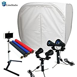 LimoStudio Table Top Photo Studio Shooting Tent box Kit, Cellphone iPhone 6 5S 5C Galaxy S4 S3 Holder Camera Tripod with Continuous Double Head Lights, AGG1494