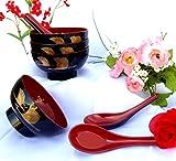 1 Set: 4 Pieces Golden Crane Lacquer Rice Miso Soup Bowl Bowls + 4 Pieces Spoons Red/black NEW