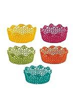 Satur Set Cesta Porta Fruta 5 Uds. Flowers Multicolor