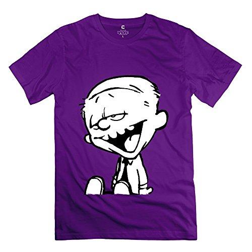 Funny Calvin And Hobbes Tiger Thomas Men's T-shirt Purple Size L