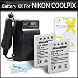 2 Pack Battery And Charger Kit For Nikon P100 P500 P510 P520 P530 Digital Camera Includes 2 Extended (1100 Mah) Replacement Nikon EN-EL5 Batteries + AC/DC Rapid Charger + LCD Screen Protectors + ButterflyPhoto MicroFiber Cleaning Cloth