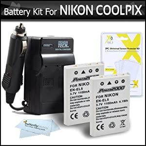 2 Pack Battery And Charger Kit For Nikon P100 P500 P510 P520 Digital Camera Includes 2 Extended (1100 Mah) Replacement Nikon EN-EL5 Batteries AC/DC Rapid Charger LCD Screen Protectors ButterflyPhoto MicroFiber Cleaning Cloth