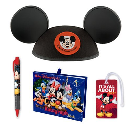 Walt Disney World Trip Gift Set Autograph Book, Pen, Mickey Mouse Ears Hat (Youth) and Luggage Tag (Orlando Disney World Tickets compare prices)