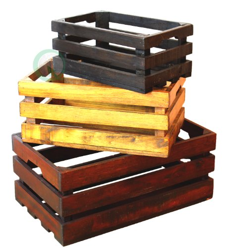 set of 3 square wood crates - Small Wooden Crates
