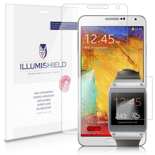 Illumishield - Samsung Galaxy Note 3 Iii & Galaxy Gear Screen Protector Combo Set Japanese Ultra Clear Hd Film With Anti-Bubble And Anti-Fingerprint - High Quality (Invisible) Lcd Shield - Lifetime Replacement Warranty - [3-Pack] Oem / Retail Packaging