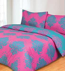 Regency Teal And Cerise King Size Duvet Cover Set: Amazon.co.uk: Kitchen & Home