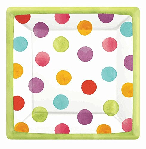 "Amscan Disposable Square Paper Dessert Plates in Watercolor Polka Dots (18 Pack), 7 x 7"", Multicolored"