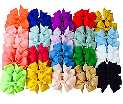"Big Elephant 40pcs Kids Baby Girls 3"" Alligator Clip Ribbon 20 Pairs Hair Bows Clips"