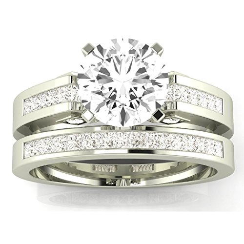 2.45 Carat t.w. Platinum Channel Set Princess Cut Diamond Engagement Ring with a 2 Ct Forever Brilliant Round Moissanite Center