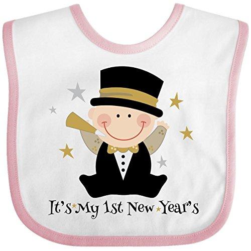 Inktastic Baby Boys' Baby's 1st New Year Baby Bib One Size White/Pink