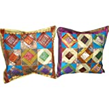 2 Deep Azure (color Wheel) Sari Zari Borders Toss Pillow Cushion Coversby Mogulinterior